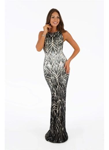 Carmen Payetli Uzun Balık Abiye Elbise Siyah